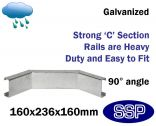 Galvanised Steel Protective Guard Rail System - Internal Corner
