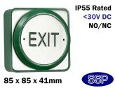 Momentary Large Green Stainless Steel Exit Button