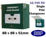 SSP Green Emergency Door Release Button Single Pole with Buzzer, LED and Cover