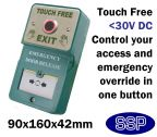 SSP Dual Touch-Free Press to exit button with timer and Door Release Break Glass Unit