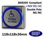 SSP Extra Large Momentary Stainless Steel Disabled Push to Open (Automated Doors) Button