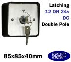 Latching Two Position Double Pole Security Key Switch with Shrouded Cover