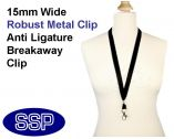 Plain Black Lanyard 15mm wide with metal clip (100 Pack)