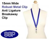 Plain Navy Blue Lanyard 15mm wide with metal clip (100 Pack)
