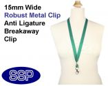 Plain Green Lanyard 15mm wide with metal clip (100 Pack)