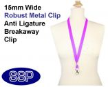 Plain Purple Lanyard 15mm wide with metal clip (100 Pack)