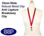 Plain Red Lanyard 15mm wide with metal clip (100 Pack)
