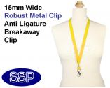 Plain Yellow Lanyard 15mm wide with metal clip (100 Pack)