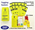 Podium steps safety tagging system