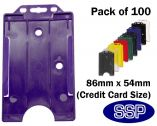 Purple ID card | Access Control card holder for lanyards (100 Pack) Portrait