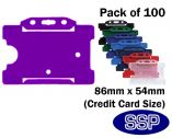 Purple ID card | Access Control card holder for lanyards (100 Pack) Landscape