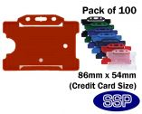 Red ID card | Proximity card holder for lanyards and clips (100 Pack) Landscape