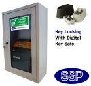 Indoor Compact Defibrillator Defender Locking Cabinet with Combination lock key Safe (White)