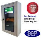 Indoor Compact Defibrillator Defender Locking Cabinet with Break Glass Key Box (White)