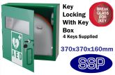 Indoor Compact Defibrillator Defender Locking Cabinet with Break Glass Key box (Green)