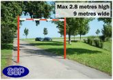 SSP Adjustable Car Park Height Restrictor Bar System (9 metre wide) Surface