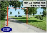 SSP Adjustable Car Park High Vehicle Height Restrictor Bar System (6 metre wide) Sub-Surface