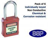 Red non-conductive non-sparking individually keyed Safety Lockout Padlock (6 pack)