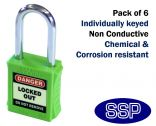 Green non-conductive non-sparking individually keyed Safety Lockout Padlock (6 pack)