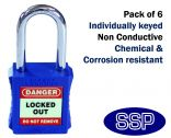 Blue non-conductive non-sparking individually keyed Safety Lockout Padlock (6 pack)