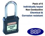 Black non-conductive non-sparking individually keyed Safety Lockout Padlock (6 pack)