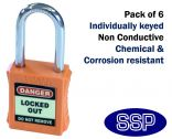 Orange non-conductive non-sparking individually keyed Safety Lockout Padlock (6 pack)