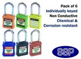 Multi-colour non-conductive non-sparking individually keyed Safety Lockout Padlock (6 pack)