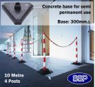 SSP 4 Post Chain Barrier Set Red & White post Concrete base 10 metre