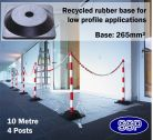 SSP 4 Post Chain Barrier Set Red & White post Rubber base 10 metre