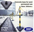 SSP 4 Post Chain Barrier Set Yellow & Black post Concrete base 10m