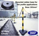 SSP 4 Post Chain Barrier Set Yellow/Black Rubber base 10metre