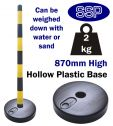 Yellow and Black High Visibility Chain Barrier Post with hollow base
