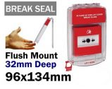 Fire alarm break glass clear cover with break seal (RF289BS) Red