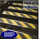 Non slip Decking and Stairs Screw in Strips (3 metre multi pack) Yellow and Black