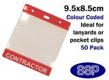 One-Write Red Contractor Pass Wallets (50 Packs)