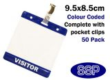 One-Write Blue Visitor Pass Wallets and clips (50 Packs)