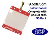 One-Write Red Contractor Pass Wallets and clips (50 Packs)