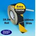 Extra Course Anti-Slip Tape (Black/Yellow) 18.3metres x 100mm (402H)