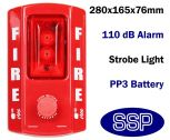 Battery Powered Stand alone Push Button Fire Alarm with Strobe for Offices and Construction Sites