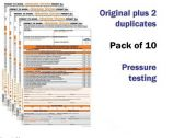 Pressure Testing Permit To Work Self Duplicating Forms Pack of 10