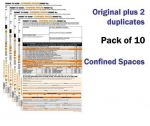 Confined Spaces Permit To Work Self Duplicating Forms Pack of 10