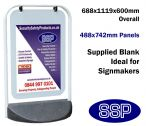 White Pavement Promotional Sign with poster pocket (488x742mm)