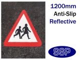 Children Crossing Symbol Thermal Marking White 1200mm Triangle