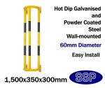 High Visibility Wall Mounted 1.5 metre Waste Pipe Collision Prevention Barrier