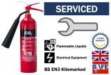 Pre-Serviced and ready to use CO2 2kg Fire extinguisher with bracket