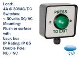 Weatherproof IP65 rated external press to exit button