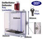 Key Locking Defibrillator Defender AED Cabinet with alarm and strobe light