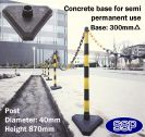 SSP 6 Post Chain Barrier Set Yellow & Black post Concrete base