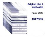 Hot Works Permit to Work Form Pack of 25 Self duplicating sheets