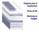 Working at Height Permit to Work Pack of 25 self duplicating sheets